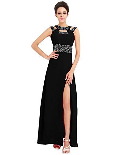 Azbro Women's Rhinestone High Slit Cut-out Front Prom Dress Black