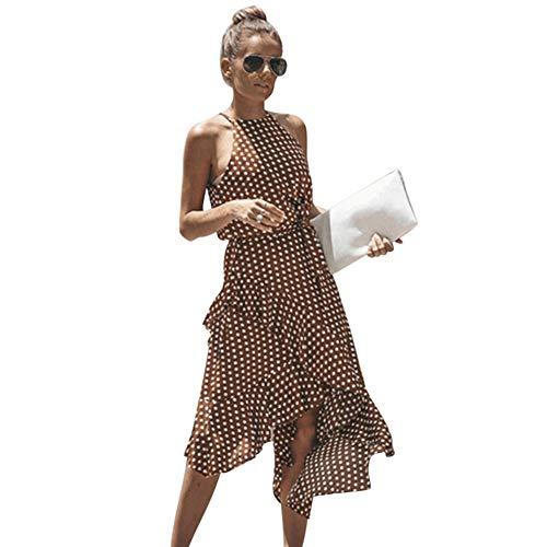 Vestido Mujer Verano 2019 Vestido Estampado De Lunares De Gasa De Verano para Mujer Falda Corta con Volante Irregular Vestido