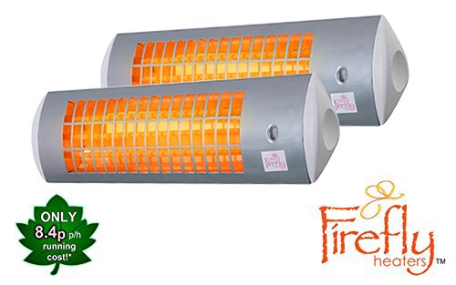 Firefly 1.8kW Wall Mounted Quartz Outdoor Indoor Patio Heater with 3 Power Settings - White (Set of 2)