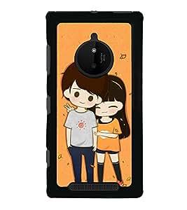 Cute Couple 2D Hard Polycarbonate Designer Back Case Cover for Nokia Lumia 830 :: Nokia Lumia 830 RM-984