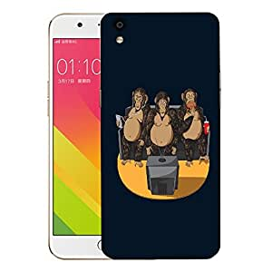 Snoogg Three Monkeys Designer Protective Back Case Cover For OPPO F1 PLUS