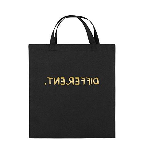 Comedy Bags - DIFFERENT - GESPIEGELT - Jutebeutel - kurze Henkel - 38x42cm - Farbe: Schwarz / Silber Schwarz / Gold