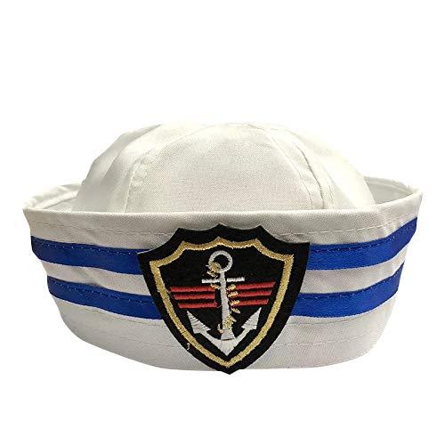 Herren Marine Kostüm Blau - thematys Matrosen-Mütze Marine Herren Damen - Kostüm für Erwachsene & Kinder - perfekt für Fasching & Karneval - Einheitsgröße (C)