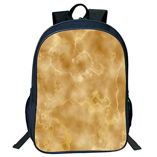 HOJJP Schultasche Stylish Unisex School Students Marble,Cloudy Granite Natural Crystal Rock Formation Motif Earthen Tones Print,Light Coffee Brown Kids,