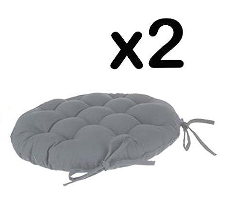 Lot de 2 galettes de chaise ronde en coton coloris gris - Diamètre 40 cm -PEGANE-