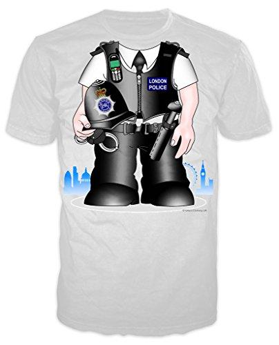 Polizist Kostüm Erwachsene Joke T-shirt (weiß) Gr. XX-Large, (Boys Kostüme Polizist)