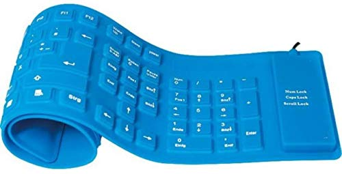 Blendia 109 Keys with Numeric Keys Silicone Rubber Waterproof Flexible Foldable Wired USB Laptop Keyboard  Blue