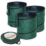 Navaris Sacchi Pop-up per rifiuti Giardino - Set 3X Sacco automontante - Cesto raccogli Foglie Erba - Cesta Giardinaggio 160 Litri 55x65cm con Custodia