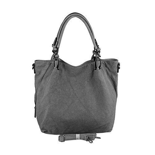 """design italiano Donna XXL Borsa """"Stella"""" Shopper Borsa Con Maniglie Borsetta Borsa A Tracolla - rosso, ca 46x35x13 cm ( BxHxT ) grigio scuro"""