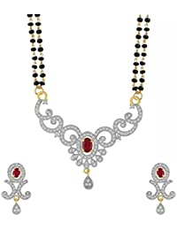 YouBella Latest Traditional Jewellery Gold Plated Mangalsutra for Women (Red)(YBMS_10080A)