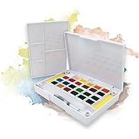 Ezigoo Set Acquarelli Tascabili – Scatola Pittura Acquarello 24 Mezze Pastiglie