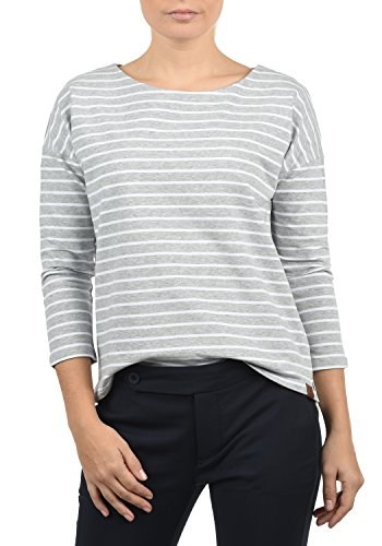 Saum U-boot-ausschnitt (DESIRES Leni Damen Sweatshirt Pullover Sweater Mit U-Boot-Ausschnitt Und 3/4 Arm, Größe:XL, Farbe:L. Grey/WH (8242W))
