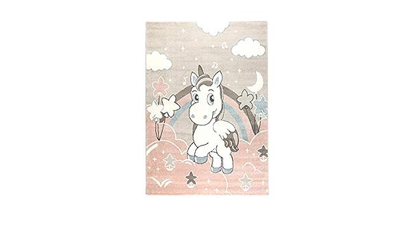 Gr/ö/ße:80 x 150 cm /Öko-Tex Siegel Rosa /& Pastellt/öne f/ür M/ädchen Jungen Kinderzimmer Farbe:Rosa havatex Kinderteppich Einhorn 1 s/ü/ßes Motiv mit Einhorn und Sternen