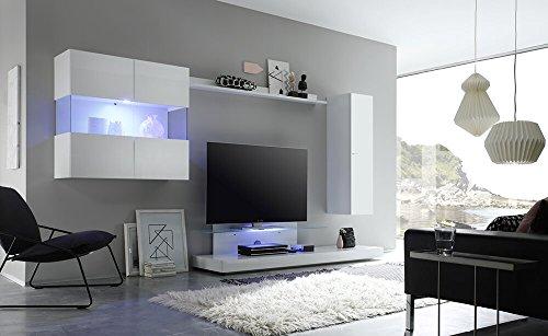 Parete attrezzata mobili salotto 2 mobili sospesi 1 mobile tv 1 mensola 320x50x175cm sodani line bianco lucido