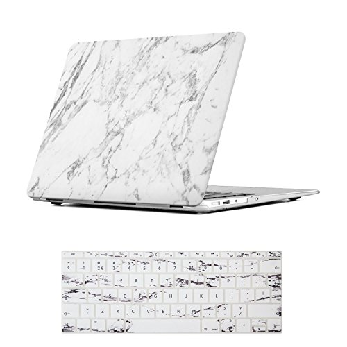 iCasso Case MacBook Air 13 Hülle Ultra Slim Dünn Kratzfeste Matt Rutschfest Hartschale Kunststoff Schutzhülle Snap Case für MacBook Air13 (MacBook Air 13 inch, White Marble) Ultra Slim Hardshell