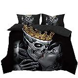Stillshine Bettwäsche Set Halloween 3D Schädel Paar Bettbezug und Kissenbezug 100% Polyesterfaser (Königschädel, 135 x 200 cm)