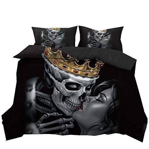 Stillshine Bettwäsche Set Halloween 3D Schädel Paar Bettbezug und Kissenbezug 100% Polyesterfaser (Königschädel, 200 x 200 cm) (Für Halloween Schädel)