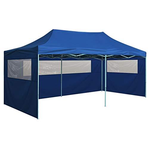 vidaXL Carpa de Jardín Plegable Pop-up 4 Paredes Acero Tela Azul 3x6 m Cenador