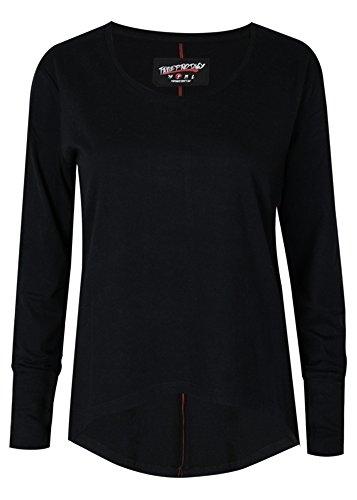 trueprodigy Casual Damen Marken Long Sleeve einfarbig Basic, Oberteil cool und stylisch mit Rundhals (Langarm & Slim Fit), Top für Frauen in Farbe: Schwarz 1063169-2999-M