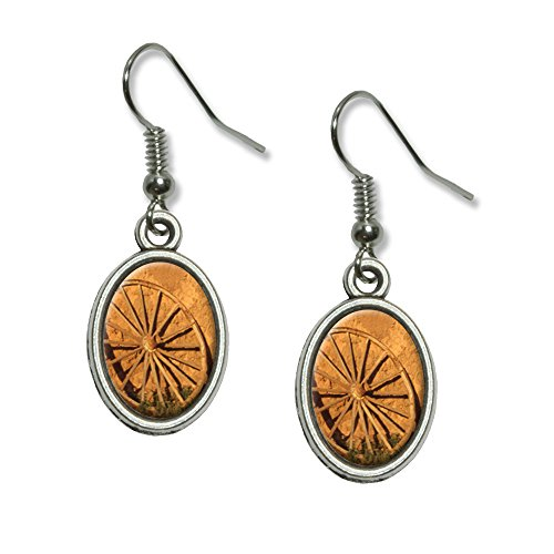 Western Wagon Rad – Fort Union Southwest New Mexiko Neuheit Dangling Drop oval Charm-Ohrringe