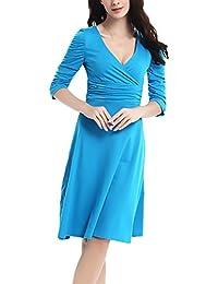 HX fashion Donna Vestiti Al Ginocchio Eleganti Estivi Manica 3 4 V Scollo  Vestito A-Line Chic Ragazza Swing Abito A Pieghe Puro Colore Casual… 9d35e72e03c