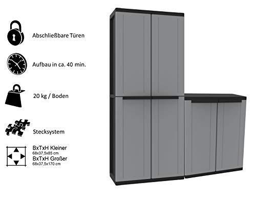 Kreher Kunststoffschrank Set: Universalschrank und Beistellschrank. Maße Universalschrank BxTxH ca. 68 x 37,5 x 163,5 cm. Maße Beistellschrank BxTxH ca. 68 x 37,5 x 85 cm
