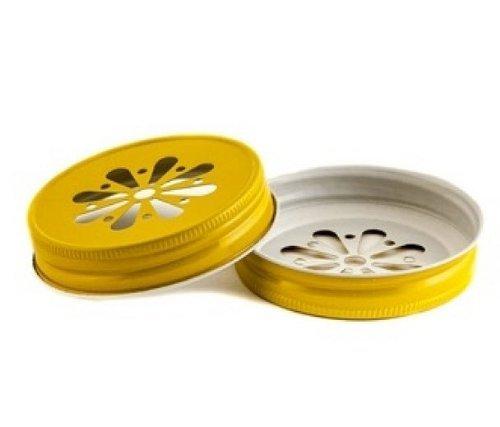 Mason Jar Tin Lid with Daisy Cut Out in Yellow [set of 24] by FC (Mason Jar Lids-daisy)