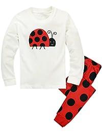 Mactery Niños Niñas Conjuntos Caricatura Pijamas Camiseta de Manga Larga + Pantalones