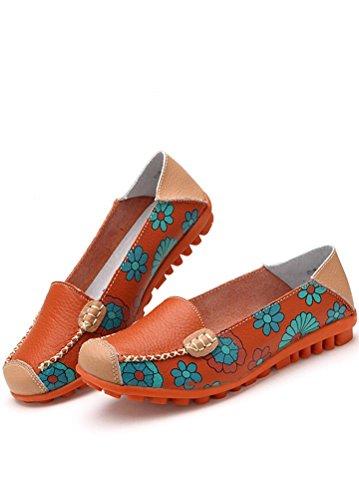 MatchLife Damen Vintage Leder Flach Ballerinas Casual Schuhe Style2-Orange