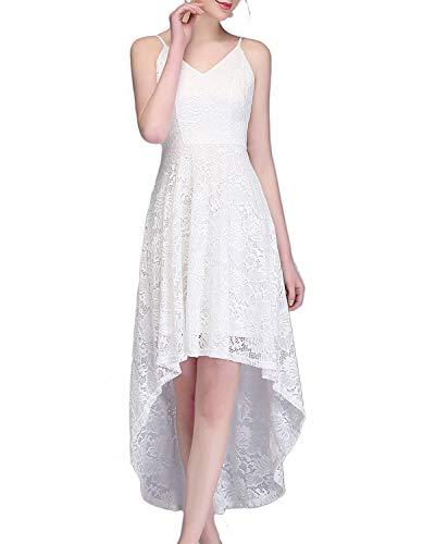 bridesmay Elegant Spitzenkleid Ärmellos Asymmetrisches Cocktailkleid Festlich Hochzeit Partykleid Abendkleid White S