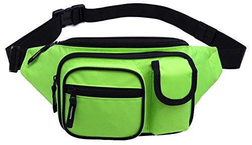 MIER Escursione del pacchetto della vita del corridore Fanny Pack Outdoor Bum Travel Bag Pouch Pack per uomini e donne (verde fluorescente)