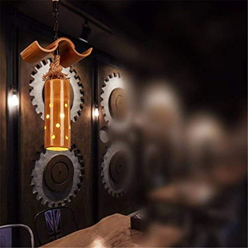 WHKHY Anhänger Licht Durable Wind Theme Hotel Chrome Haken Typ Internet HakenChrom Retro Lampe Bambus Kronleuchter, 2 Chef,1 Kopf -