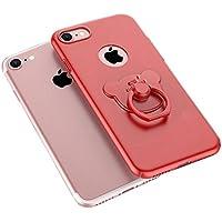 Aiqaa iPhone 7 Caso con Rotazione 360 anello titolare Kickstan Supporto anello (Rosso)