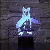 Kjfgkf @ 3D Veilleuse Pokemon Veilleuse Led Illusion 3D Capteur Tactile Capteur Lumières Décoratives Enfant Enfants Cadeau Pingouin Figure Table Lampe Chambre