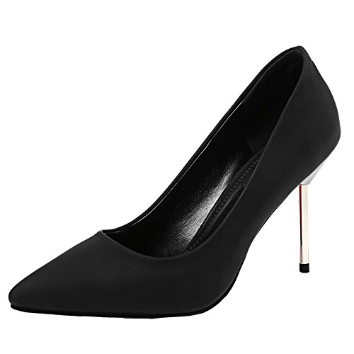 Mee Shoes Damen Stiletto spitz Geschlossen Pumps Schwarz