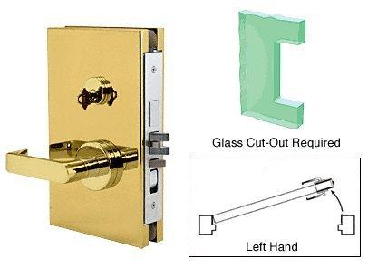 CRL latón pulido centro izquierda 15,24 cm x 25,4 cm con cerradura de mortaja en entrada bloqueo