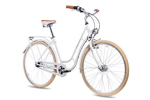 CHRISSON 28 Zoll Retro Citybike Damen - N Lady 7G Weiss - Damen-City-Fahrrad mit Shimano Nexus 7 Gang Nabenschaltung im Retro Design, Vintage Damenfahrrad mit Rücktrittbremse und Gepäckträger -