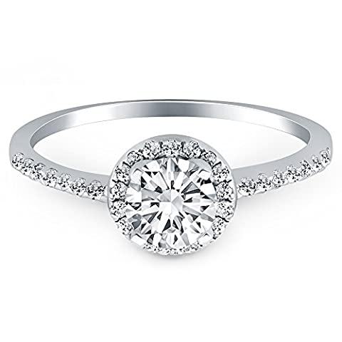 1.22 ct Runder Halo Diamant-Verlobungsring mit Pavé Band in Sterlingsilber klarer kubischer Zirkonia-Stein Größe 57(18.1)