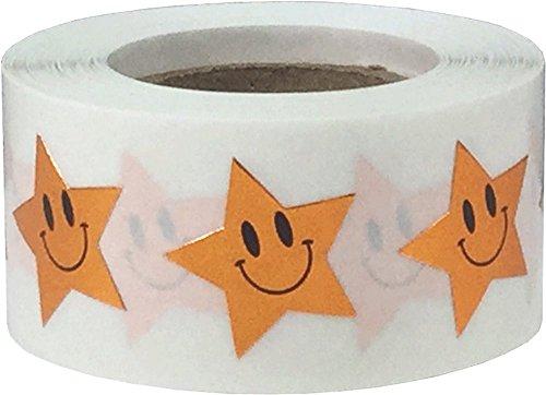 Bronce Brillante Cara Feliz Estrella Pegatinas