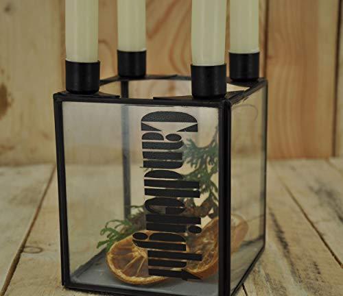 KUHEIGA Adventsleuchter eckig schwarz aus Metall B: 12cm Leuchter Kerzenleuchter