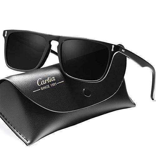 Carfia Polarisierte Herren Sonnenbrille Modische 100% UV400 Schutz Sonnenbrille für Golf, Autofahren, Outdoor Sport, Angeln (Acetat Gestell: Schwarz; Linsen: Grau)