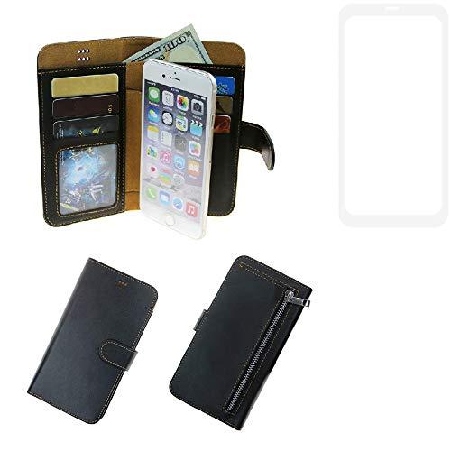 K-S-Trade® Für Leagoo KIICA Power Portemonnaie Schutz Hülle Schwarz Aus Kunstleder Walletcase Smartphone Tasche Für Leagoo KIICA Power - Vollwertige Geldbörse Mit Handyschutz