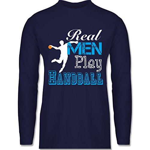 Shirtracer Handball - Real Men Play Handball - Herren Langarmshirt Navy Blau