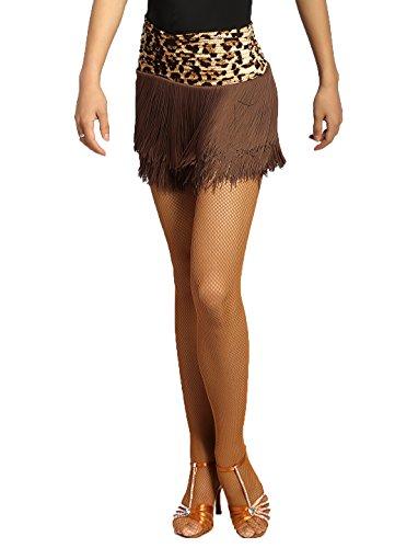 SCGGINTTANZ G2002 Latin Latein Moderner Der Ball Tanz Gesellschaftstanz Professionell Doppelschicht Quasten Swing Rock (L, (FBA) Leopard)