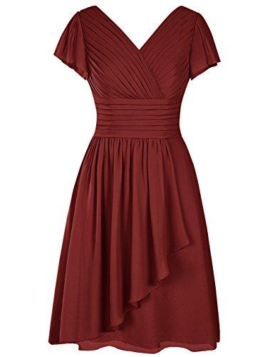 Dresstells Damen V-ausschnitt Chiffon Knielang Brautjungferkleid Abschlussballkleid Cocktailkleid Burgundy