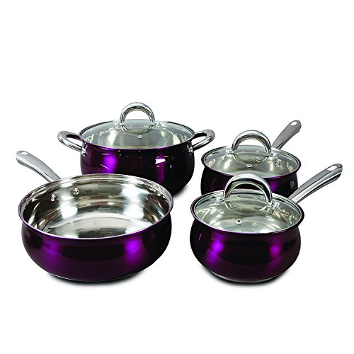 Oster 7 Piece Verdone Cookware Set with Metallic Purple Exterior, Stainless Steel