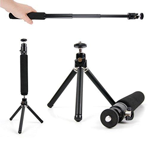 DURAGADGET Trépied/Perche Selfie 2 en 1 Extensible pour Canon EOS 4000D, EOS 2000D, Nikon D3500, Fujifilm Instax SQ6 Appareil Photo Reflex/argentique - Pieds Solides