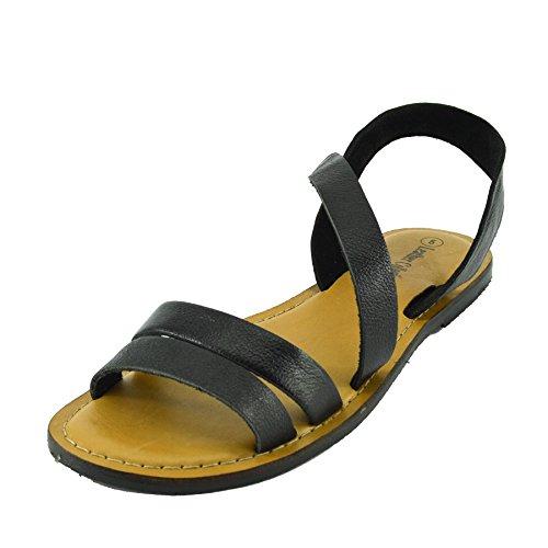 Kick Footwear - Moda Donna Estate Casual Sandali Scarpe Di Cuoio Naturale Nero F0936