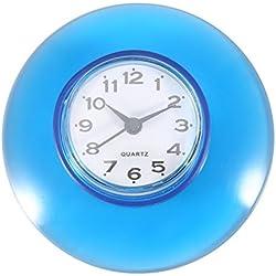 No-tictac Silent Wall Clock - Reloj Digital de Cuarzo Impermeable Mini Cute Design Cuarto de Baño Cocina de Aspiración de Ducha Uso de la ducha 6 Colores ( Color : Azul )