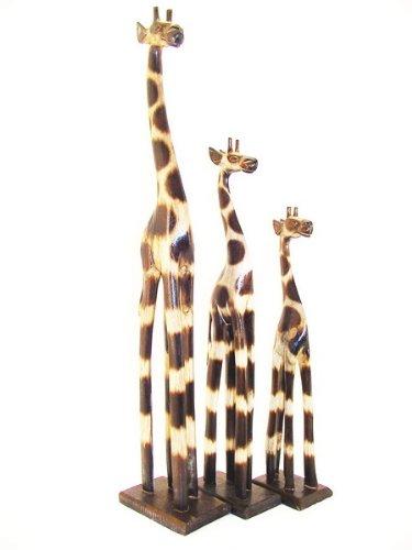 80cm giraffa in legno intagliato animale dipinto a mano Africa lavoro manuale commercio equo GH